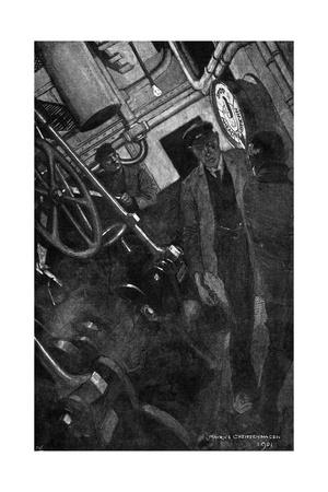 Conrad, Typhoon, Engine-Room Giclee Print by Maurice Greiffenhagen