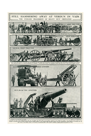 Artillery Being Sent to German Front at Verdun 1916 Giclee Print by S.W. Clatworthy