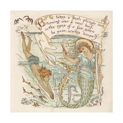 Boy Meets Mermaid Giclee Print by Walter Crane