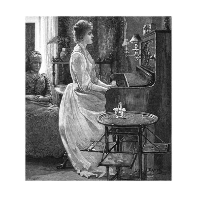 Music at Home - a Lady Plays the Piano Giclee Print