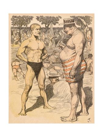 Men on Beach, Munzer Premium Giclee Print by Adolf Munzer