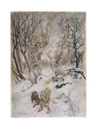Wind in Willows, Rat Snow Premium Giclee Print by Arthur Rackham