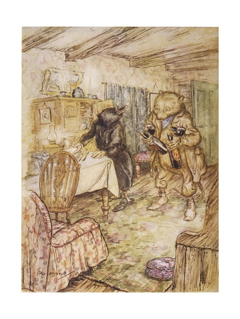 Willows, Rat and Beer Premium Giclee Print by Arthur Rackham