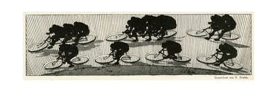Cycling Silhouette Giclee Print by E. Kneiss