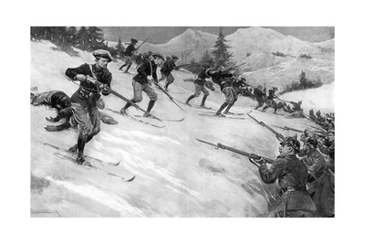 Charge of French Alpine Chasseurs in Alsace, WW1 Giclee Print by Ernest Prater