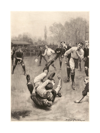 Player Making a Tackle in a Rugby Game Premium Giclee Print by Ernest Prater
