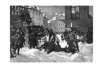 Cabhorse Slips on Ice Giclee Print by Erik Henningsen