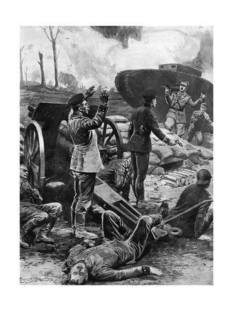 German Gun Crew Surrender to a Tank at Messines, WW1 Premium Giclee Print by Ernest Prater