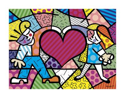 Heart Kids Print by Romero Britto