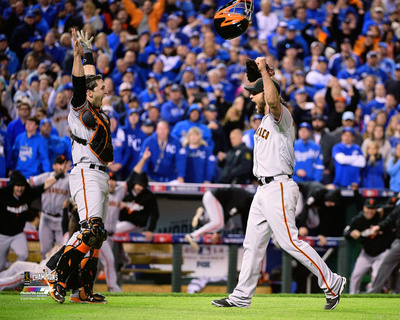 Buster Posey & Madison Bumgarner celebrate winning Game 7 of the 2014 World Series Photo