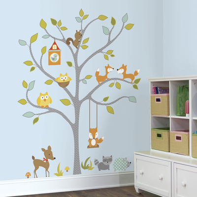 Woodland Fox & Friends Tree Peel and Stick Wall Decals Wall Decal