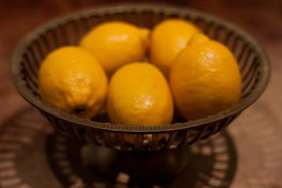 Antique Metal Bowl with Fresh Lemons Photo Poster Prints