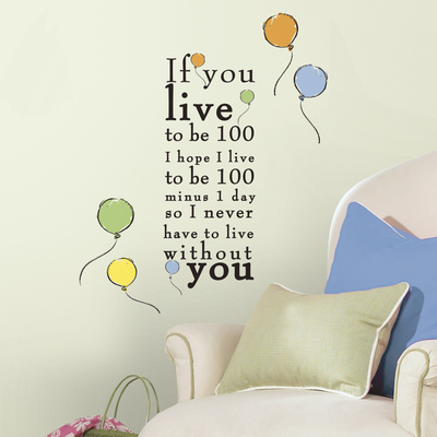 """Winnie the Pooh - """"Live to be 100"""" Peel and Stick Wall Decals Vinilo decorativo"""