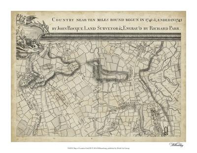 Map of London Grid III Giclee Print