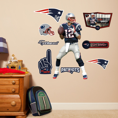 Tom Brady Jr Fathead Wall Decal along with team insignia, Flying Elvis, fan icons