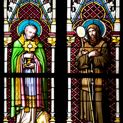 Prague, St. Vitus Cathedral, Stained Glass Window, Two Standing Holy Men Photographic Print by Samuel Magal