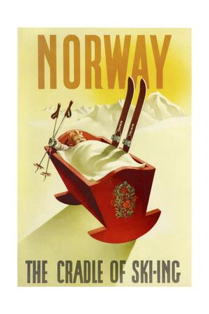 Norway Cradle Skiing Giclée-tryk