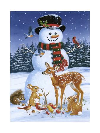 Snowman with Friends Giclée-tryk af William Vanderdasson