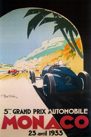 Grandprix Automobile Monaco 1933 Giclée-tryk