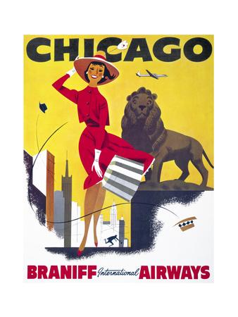 Chicago, Braniff International Airways Giclee Print