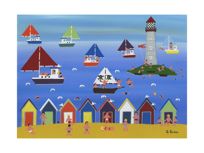 Boats in Lighthouse Bay Lámina giclée por Gordon Barker