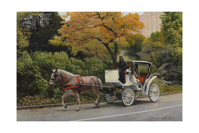 Carriage at Central Park Giclee Print by John Zaccheo