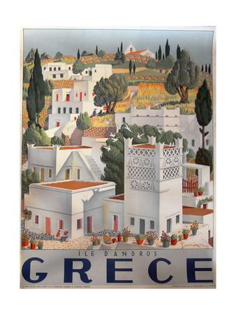 Greece Dandros travel poster Giclée-tryk