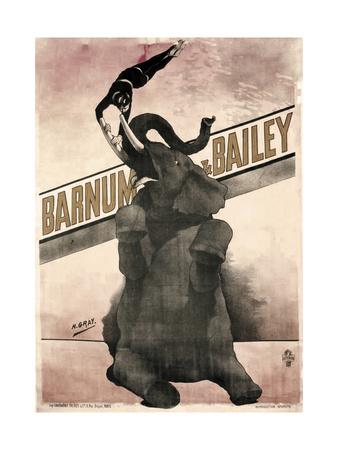 Elephant Gray Barnum and Bailey Giclee Print