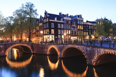Amsterdam Canals at Dusk Photographic Print by Fraser Hall