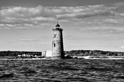 Whaleback Lighthouse Maine Black and White Art Print Poster Prints