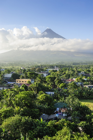 View from the Daraga Church over Volcano of Mount Mayon, Legaspi, Southern Luzon, Philippines Photographic Print by Michael Runkel
