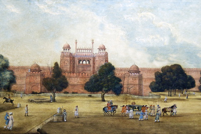 Painting of Red Fort, 19th Century, Archaeological Museum, Red Fort, Delhi, India, Asia Photographic Print by Peter Barritt