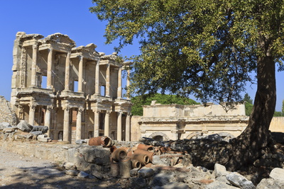 Facade of the Library of Celsus, Fruit Tree and Ancient Pipes, Ancient Ephesus Photographic Print by Eleanor Scriven