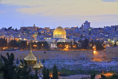 View of Jerusalem, from the Mount of Olives, Jerusalem, Israel, Middle East Photographic Print by Neil Farrin