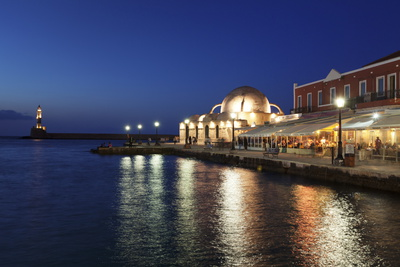 Lighthouse at Venetian Port and Turkish Mosque Hassan Pascha at Night, Chania, Crete Photographic Print by Markus Lange