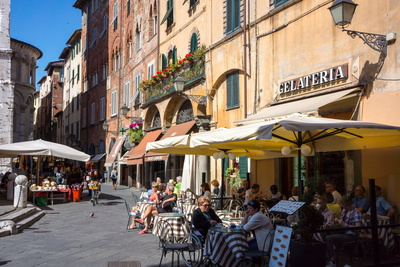 Picturesque Street in Lucca, Tuscany, Italy, Europe Photographic Print by Peter Groenendijk