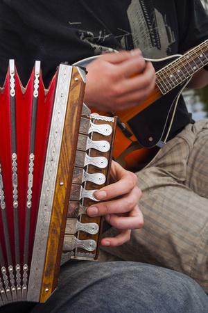 Accordion, Ethnic Group of Musicians, River Emajogi, Tartu, Estonia, Baltic States, Europe Photographic Print by Nico Tondini
