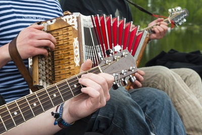 Accordion and Guitar, Ethnic Group of Musicians, River Emajogi Photographic Print by Nico Tondini