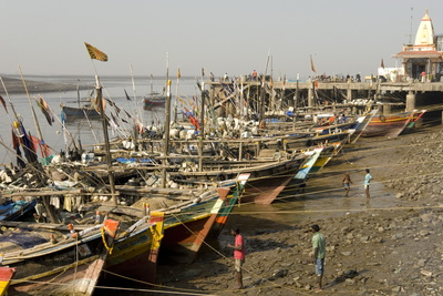 The Fishing Harbour on the Daman Ganga River, Daman, Gujarat, India, Asia Photographic Print by Tony Waltham