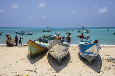Fishing Boats in the Turquoise Waters of Qalansia on the West Coast of the Island of Socotra Photographic Print by Michael Runkel