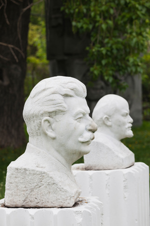 Soviet-Era Sculptures of Vladimir Lenin and Joseph Stalin at Art Muzeon Sculpture Park, Zamoskvo Photographic Print by Green Light Collection