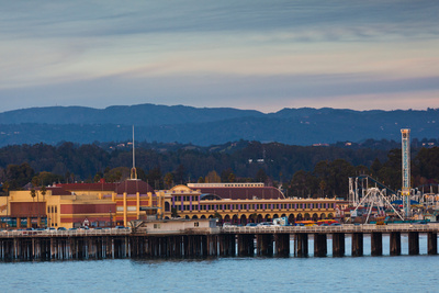 Harbor and Municipal Wharf at Dusk, Santa Cruz, California, USA Photographic Print by Green Light Collection