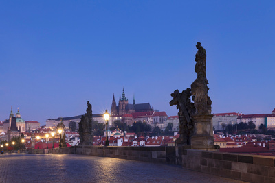 Statues on Charles Bridge with Castle District and St. Vitus Cathedral in the Background, Prague Photographic Print by Green Light Collection