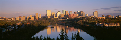 Reflection of Downtown Buildings in Water at Sunrise, North Saskatchewan River, Edmonton Photographic Print by  Panoramic Images
