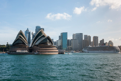 Sydney Opera House with Buildings at Circular Quay, Sydney, New South Wales, Australia Photographic Print by Green Light Collection