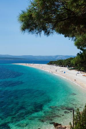 Zlatni Rat Beach with Hvar Island in the Background, Bol, Brac Island, Dalmatia, Croatia Photographic Print by Green Light Collection