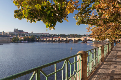 Promenade Along Vitava River with a Cathedral in the Background, St. Vitus Cathedral, Prague Photographic Print by Green Light Collection
