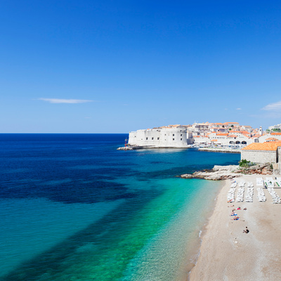 Banje Beach with Old Town of Dubrovnik, Dalmatia, Croatia Photographic Print by Green Light Collection