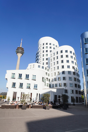 Neuer Zollhof Buildings Designed by Frank Gehry with Rheinturm Tower, Media Harbour Photographic Print by Green Light Collection