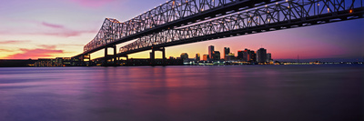 Twins Bridge over a River, Crescent City Connection Bridge, River Mississippi, New Orleans Photographic Print by  Panoramic Images